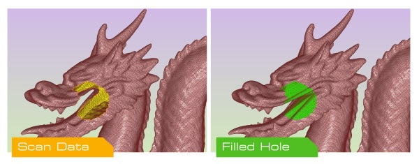 Larger holes processed, keeping detail. Image via Polygonica