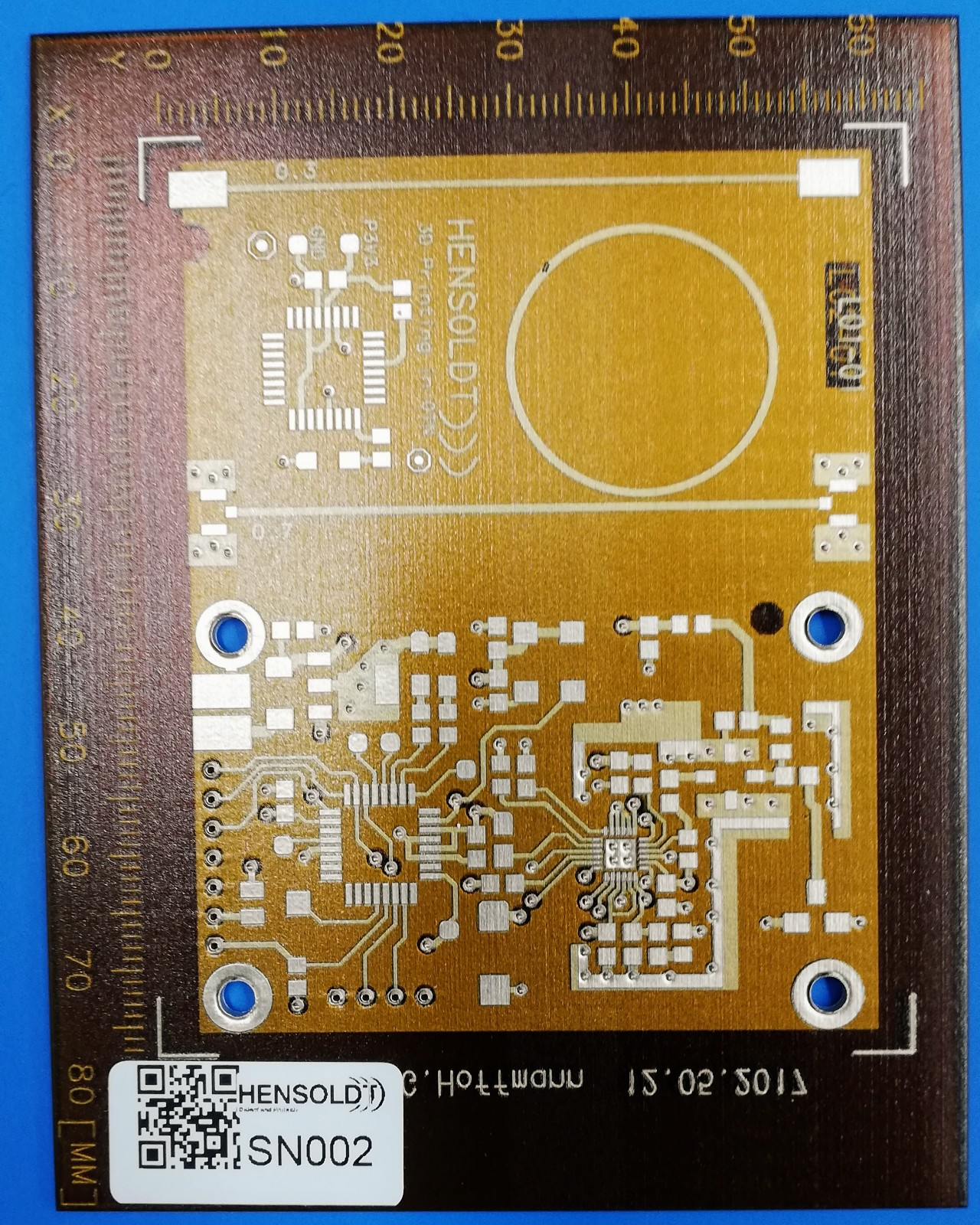 A HENSOLDT Test circuit board 3D printed on the DragonFly LDM. Photo via Nano Dimension