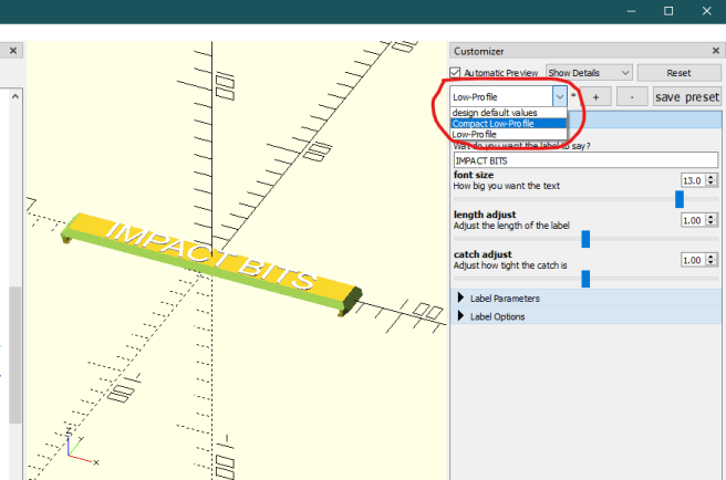 Using the Packout handle label openSCAD model
