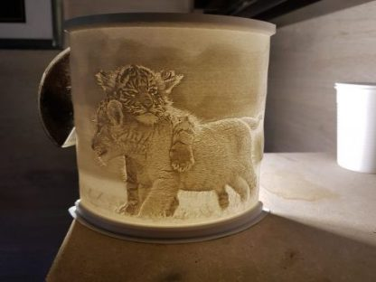 lion and tiger cup lithophane