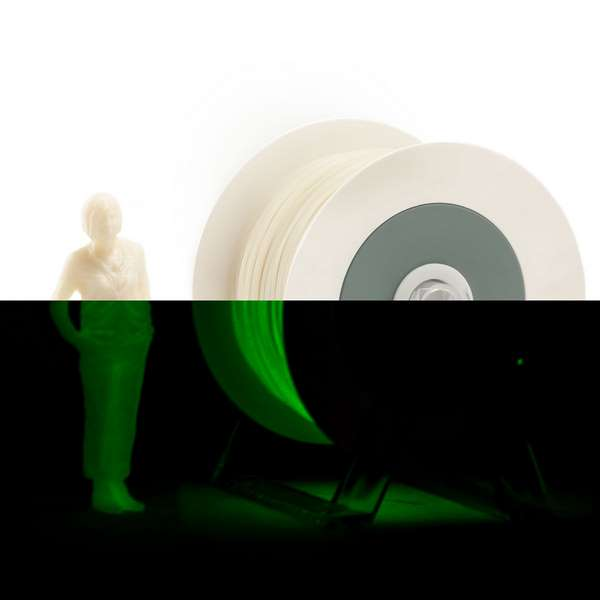 EUMAKERS PLA filament Photoluminescent Ivory White | Extra Power Green 2.85mm 1000g