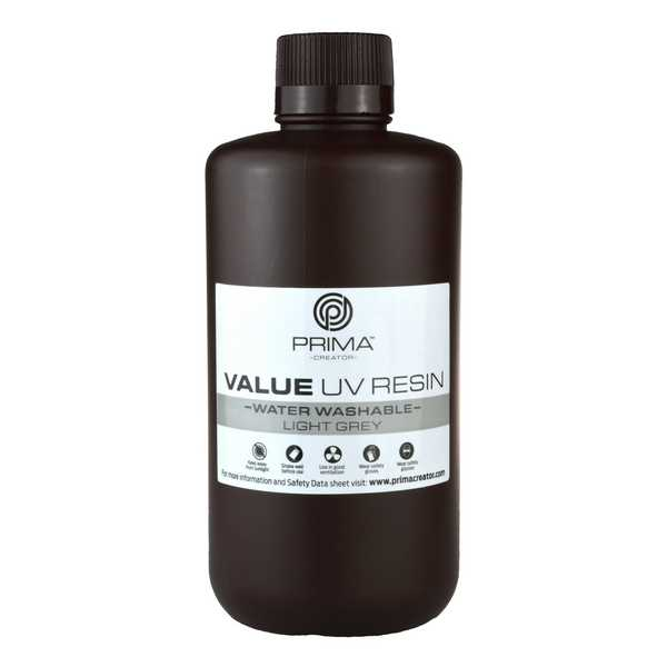 Water Washable UV DLP Resin LIGHT GREY 1000ml - PrimaCreator