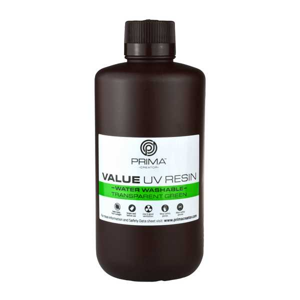 Water Washable UV DLP Resin TRANSPARENT GREEN 1000ml - PrimaCreator