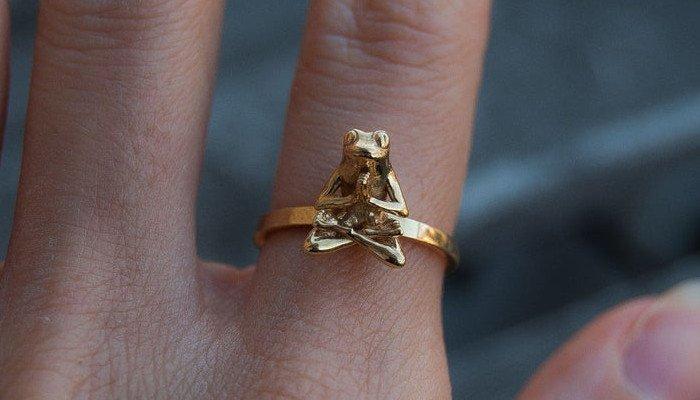 anna reikher 3d printed ring frog meditating