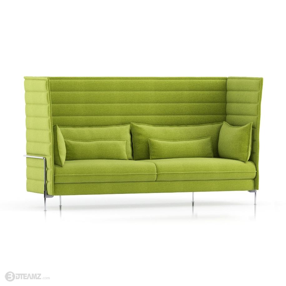 Vitra Alcove Highback Green Sofa 3D .