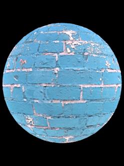 brick wall blue painted