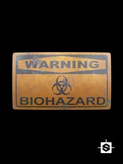 warning plate biohazard nuclear metal signal