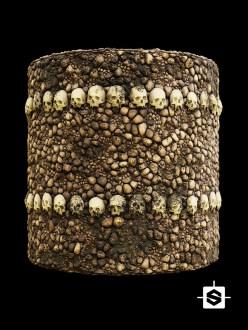 catacombs wall stones rocks medieval bones skulls