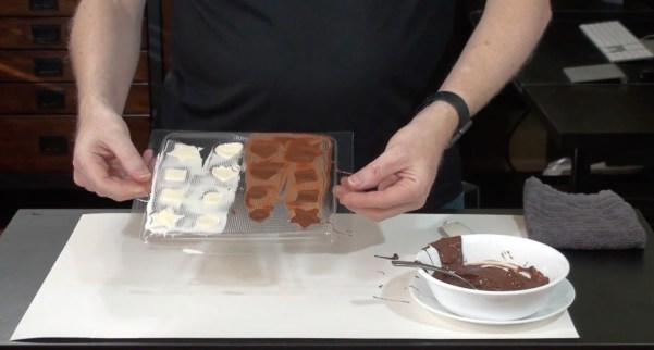 Chocolates in Chocolate Mold, Ready to be Chilled