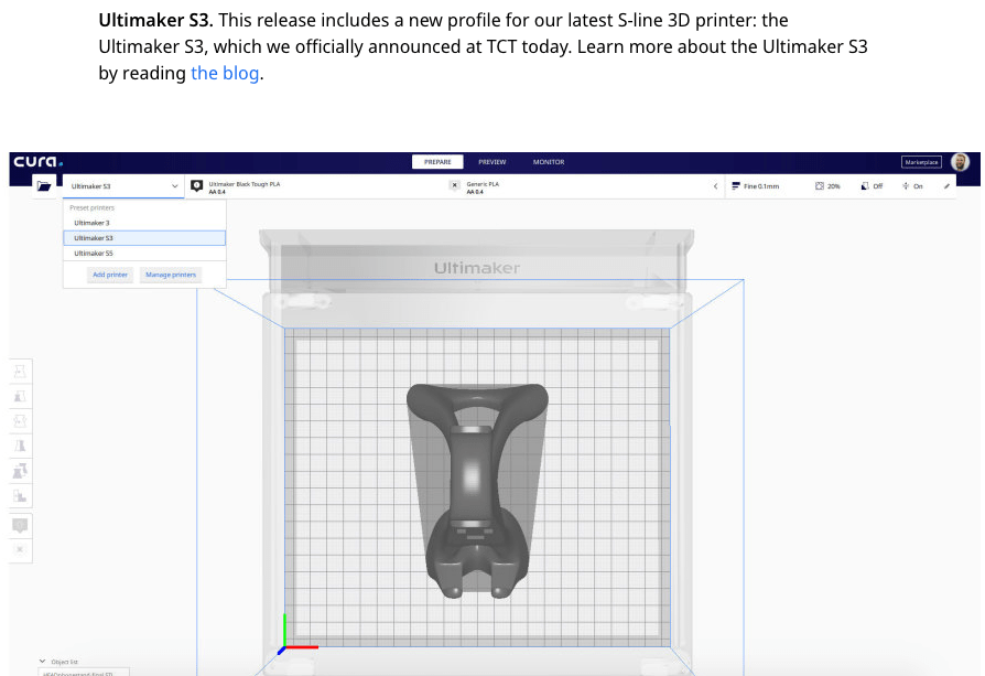 A screenshot of the updated CURA download for use with the Ultimaker S3 3D printers