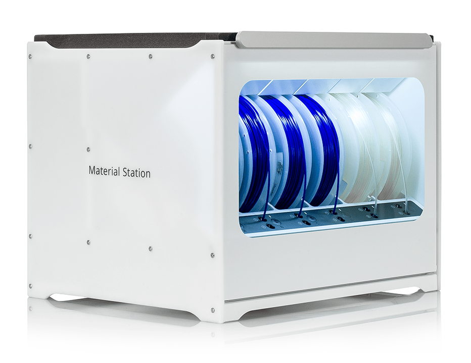 The new Ultimaker S5 Material Station with 6 spools of filament ready to 3D print.