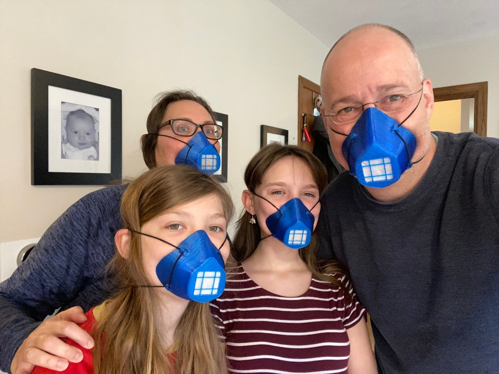 Maarten van Lier of Core3D.tech with his family using the 3D Printed BECMv1 - (Buffalo e-NABLE Crisis Mask)