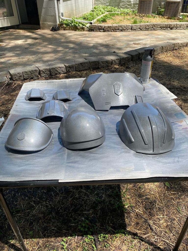 Serial Kilter 3D Printed Heavy Infantry Mandalorian Armor getting a primer coat of paint
