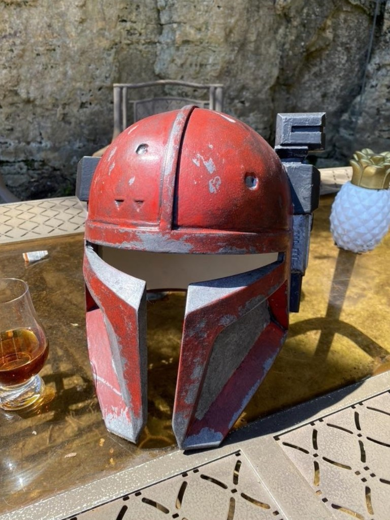 Serial Kilter 3D Printed Heavy Infantry Mandalorian Armor helmet painted and weathered