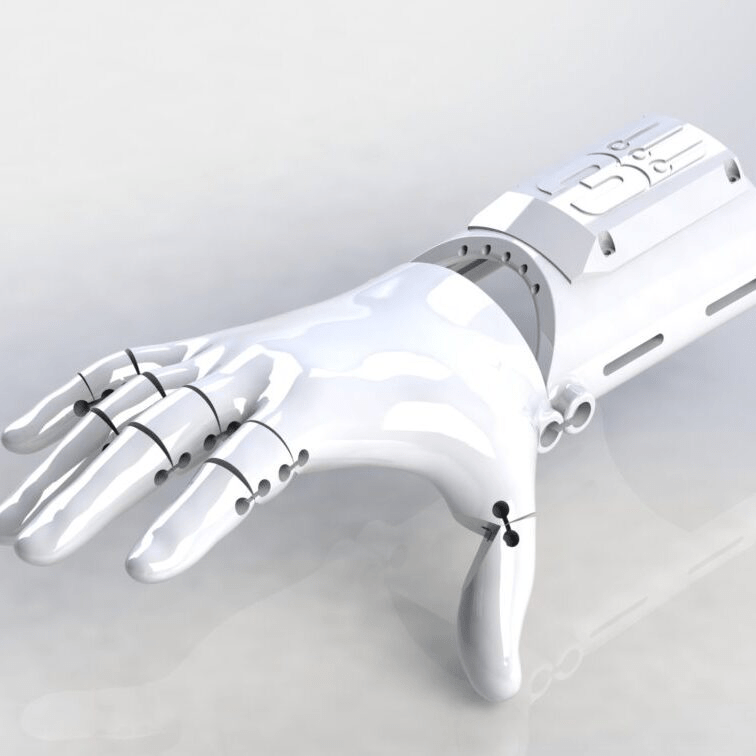 3D rendering of the 3D Printed Kinetic assistive device hand from Free 3D Hands
