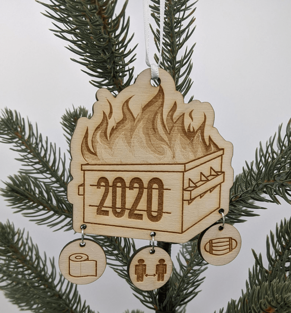Dumpster fire holiday ornament 2020