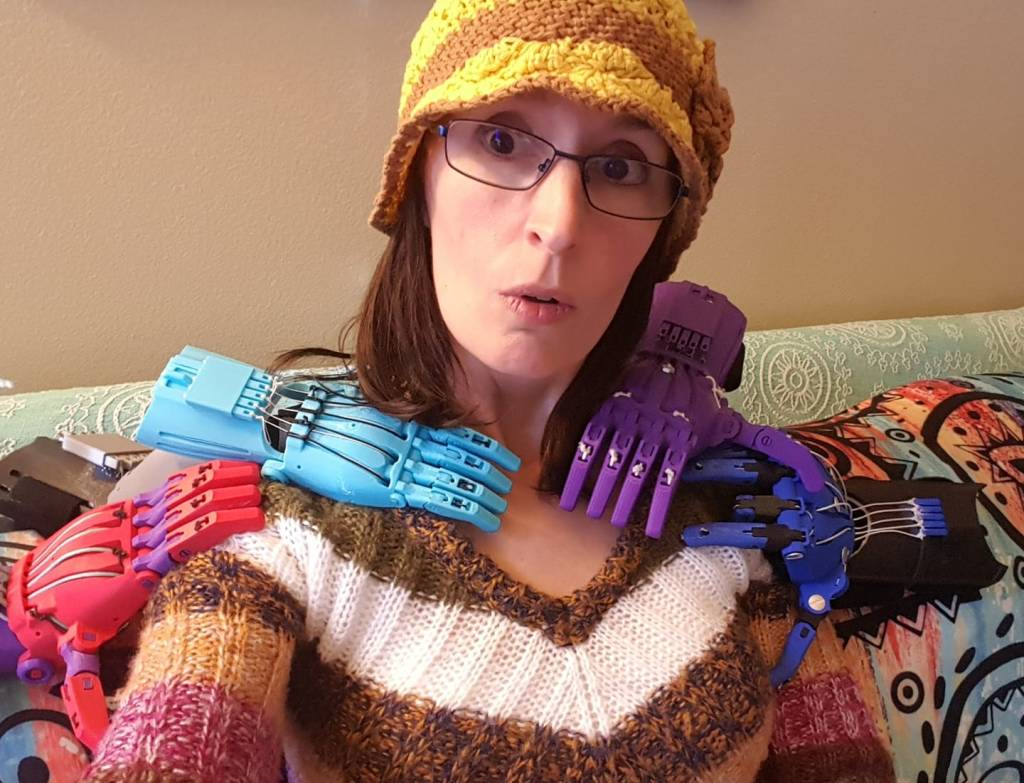 Jen Owen, Co-founder of e-NABLE with multiple 3D printed hands