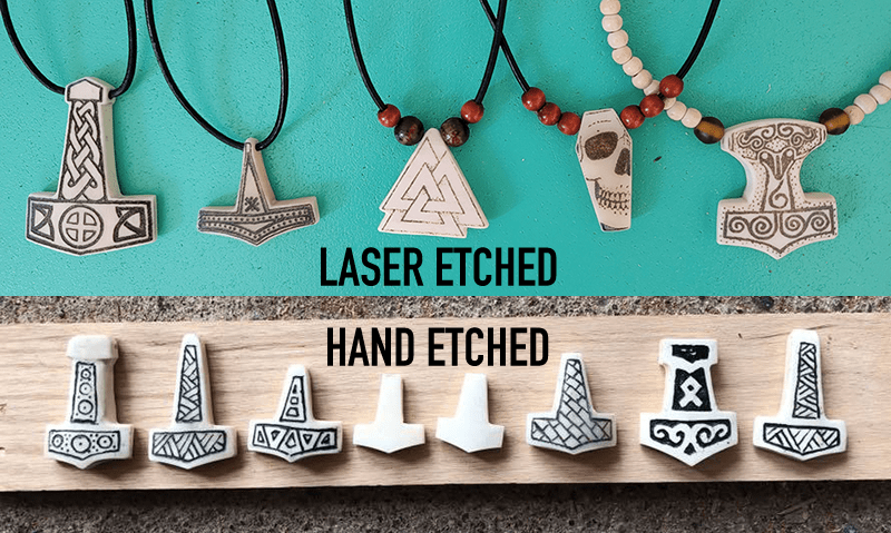 Laser and hand etched bone jewelry from Carter Craftwork