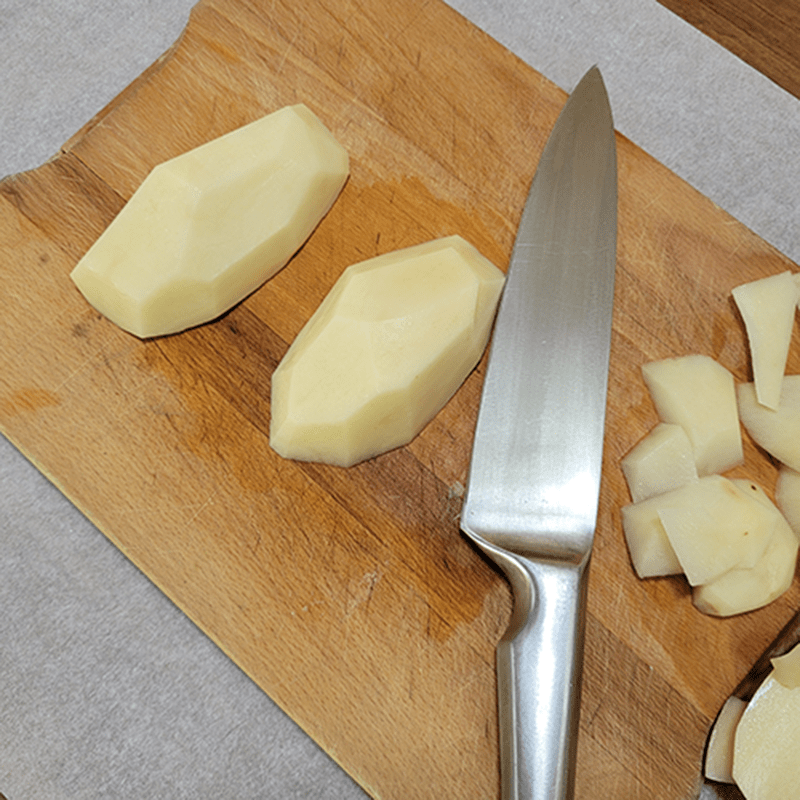 Cutting potatoes into the shape of gemstones