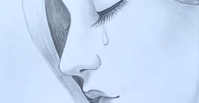 sad girl drawing