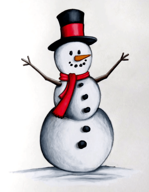 snowman drawing, How to draw snowman, Snowman drawing easy