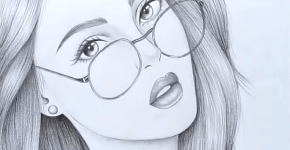 how to draw a girl with glasses