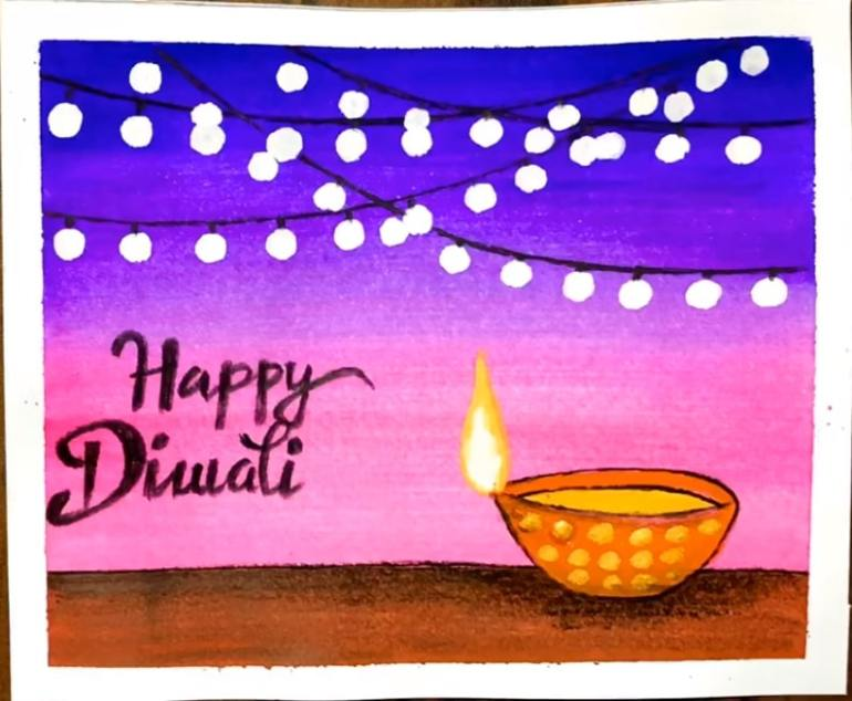 Easy diwali Drawing