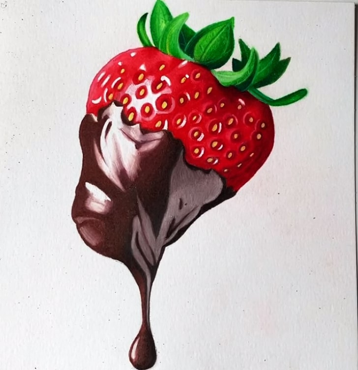 Chocolate Covered Strawberry Drawing Realistic Strawberry