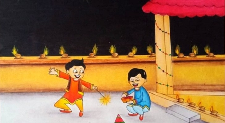 diwali drawing for kids