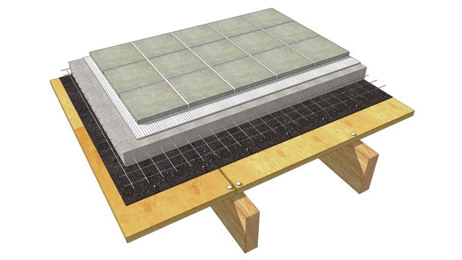 floor tile cement mortar on wood