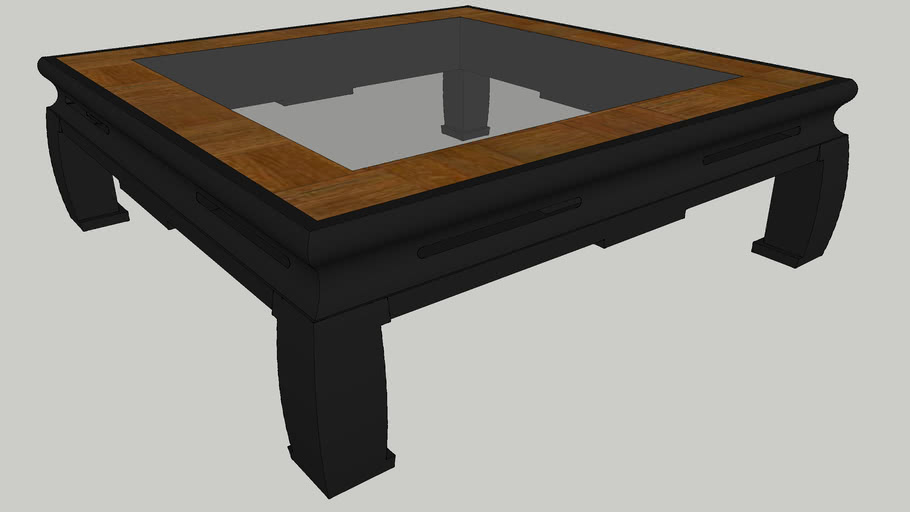 chinese coffee table with glass insert