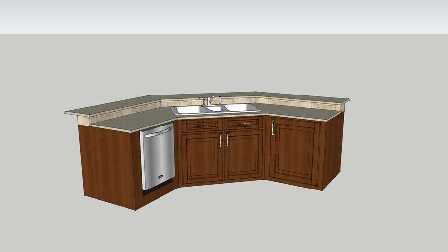 kitchen island corner angle with sink
