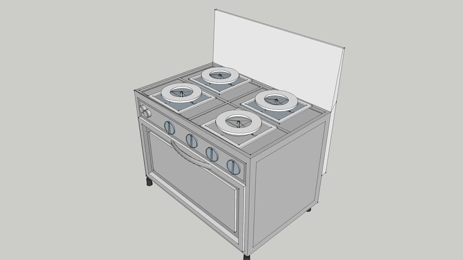 kitchen stove with microwave oven 3d