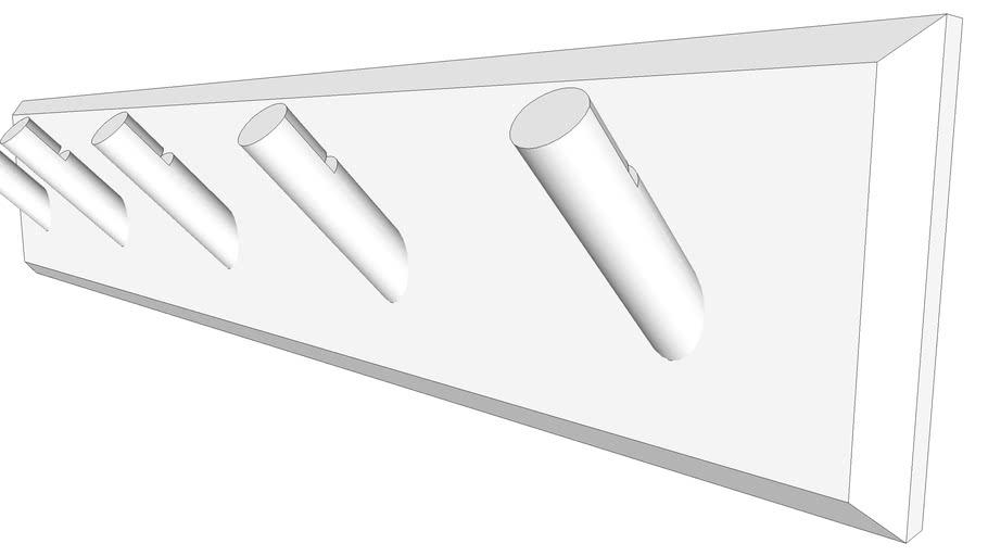 wall mounted coat hanger hook rack 3d