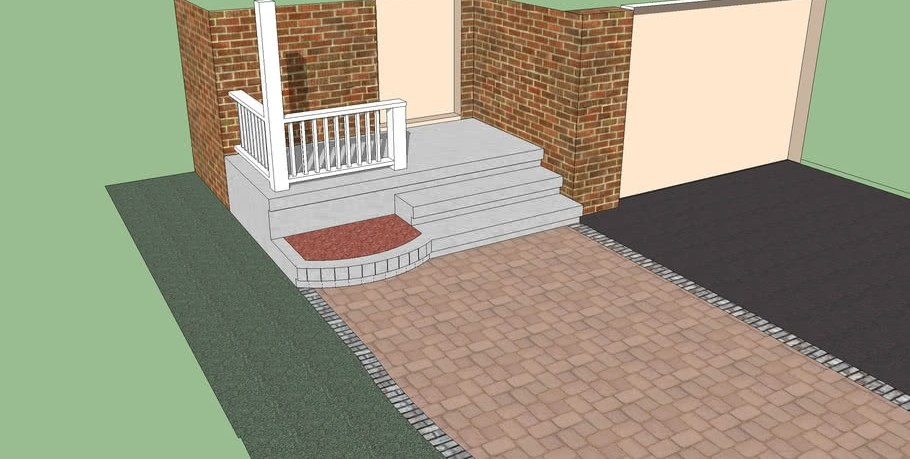 Front Step With Planter 3D Warehouse | Front Step Design For House | Half Round | House Indian | Back Door Step | House Kerala | Circular Step