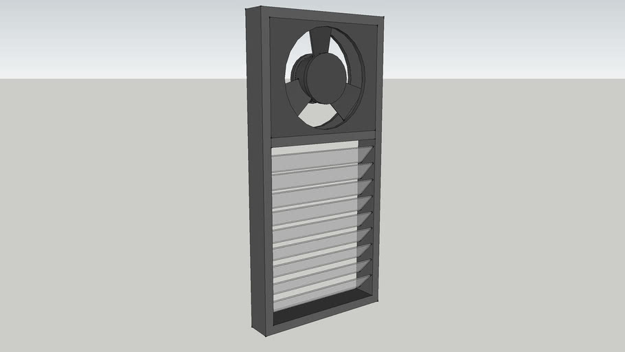 louvered window with exhaust fan 3d