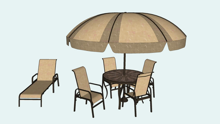 patio table with umbrella and lounge