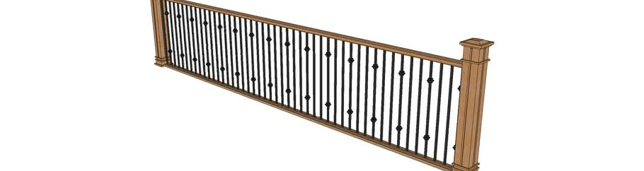 Wood Railing With Metal Spindles 3D Warehouse | Wood And Metal Banister | Modern | Rustic | Stainless Steel | Design | Aluminum