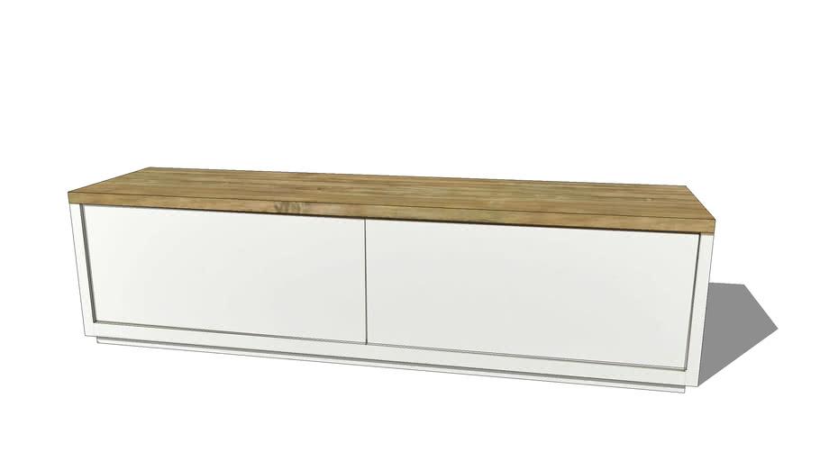 austral meuble tv en chene massif blanc