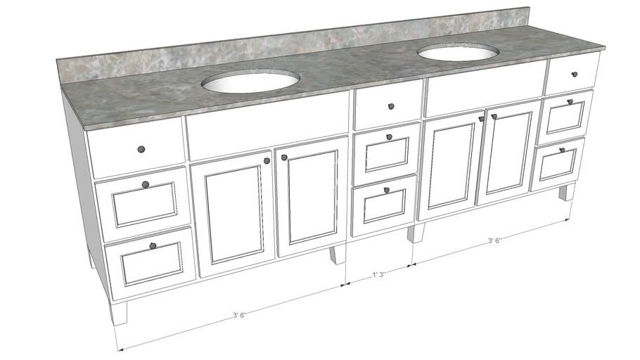99 inch vanity system double sink