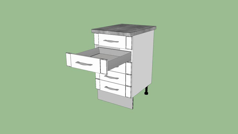 meuble de cuisine bas 5 tiroirs silver