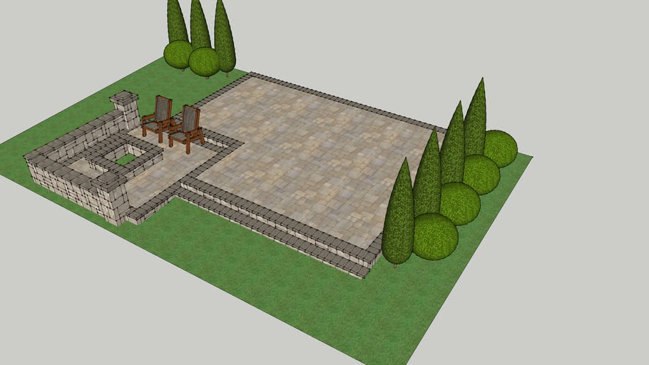 small paver patio layout 3d warehouse