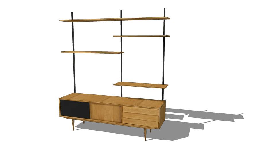 sheffield etagere tv vintage 3 portes