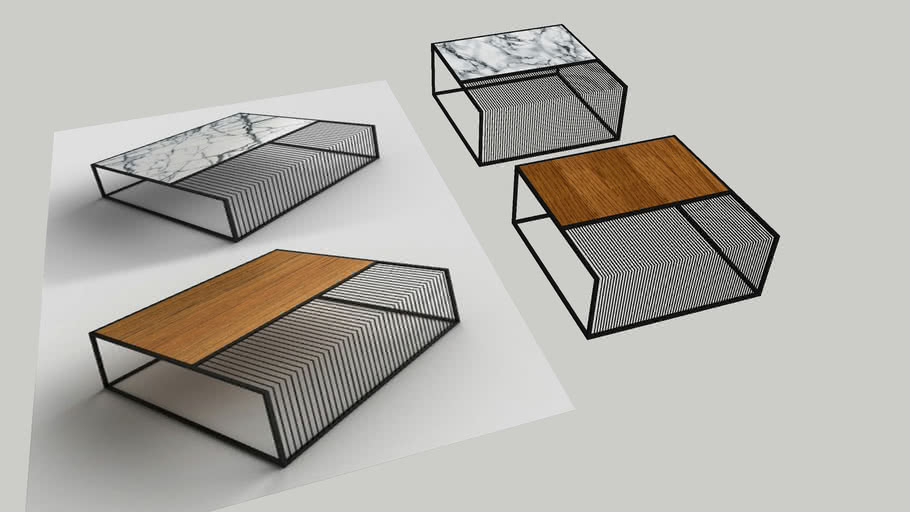 modern side table wood marble steel