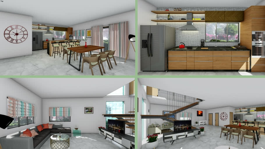 Modern Interior Design Living Room Drawing Room Kitchen | House Plans With Stairs In Kitchen | Upstairs | Country Kitchen | Hidden Pantry | Luxury | Small House