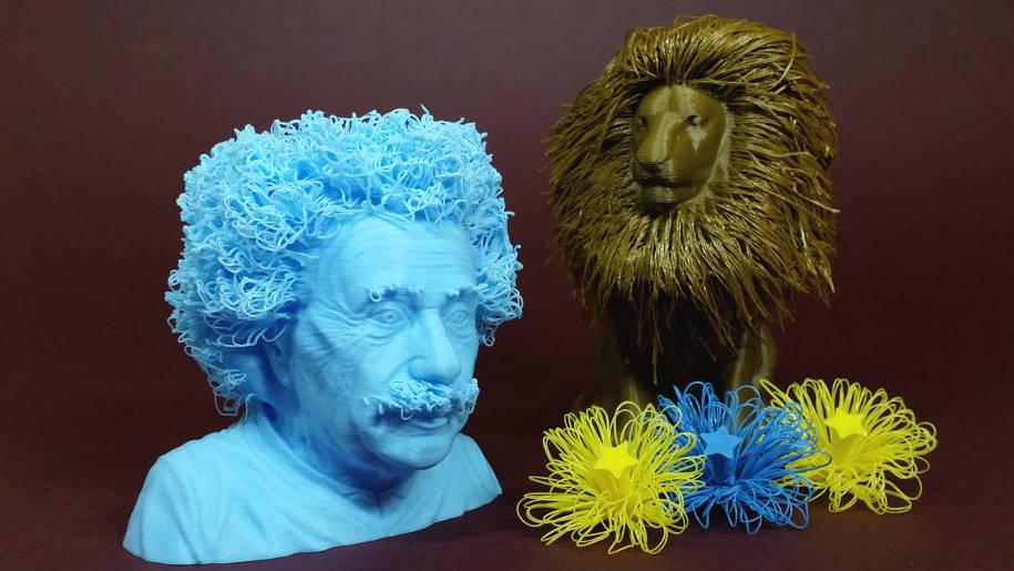 Hairy 3D Prints Hairy Lion And Einstein Printed Using