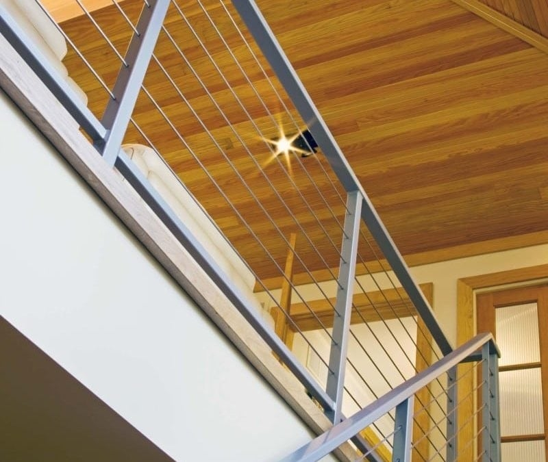 Cable Railings Vs Glass Railings Owings Brothers Contracting   Glass Panel Stair Railing   Toughened   Square   Framed Glass   Staircase   Banister