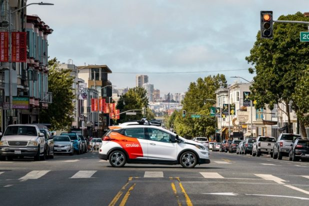 Cruise AV self-driving test vehicle on San Francisco city streets