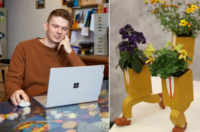 Tom O'Meara, an animator, uses a Surface Book 2 in his studio