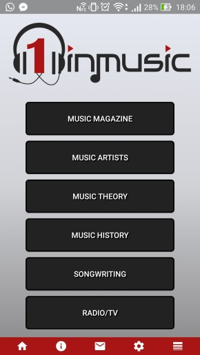 1InMusic Magazine Mobile App - App Home